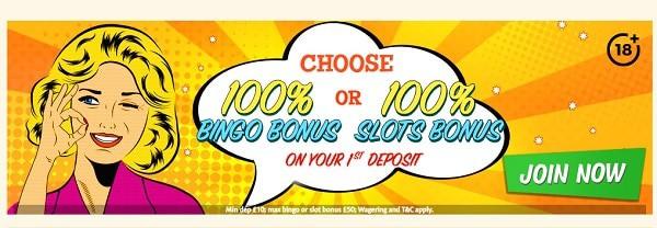 Bingo Extra Casino 100% welcome bonus and 100 free spins on slot machines