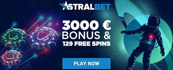 AstralBet Casino welcome bonus: 3000 EUR and 129 free spins