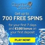 How to claim 700 free spins welcome bonus at Quatro Casino?