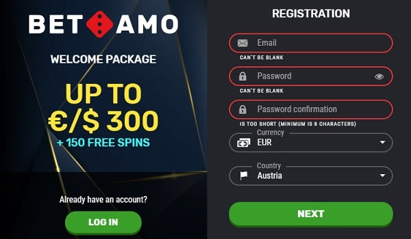 150 Free Spins and 300 EUR/USD welcome bonus at BetAmo Casino Online