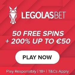 Legolasbet Casino 50 gratis spins wager-free welcome bonus