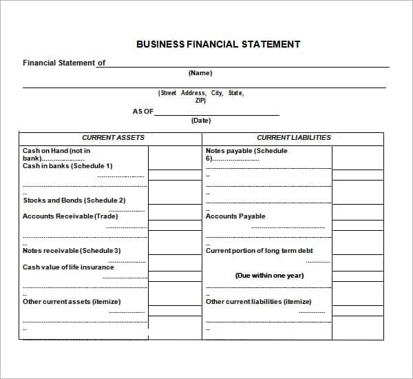 business financial statement template image 221