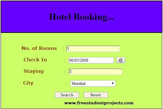hotel booking screenshot