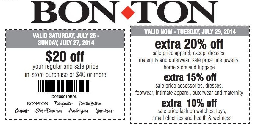 *HOT* $10 Off $25 Bon-Ton Coupon