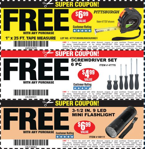 Free Tools at Harbor Freight