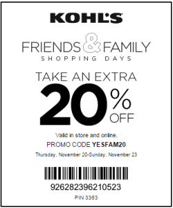 20% Friends & Family Kohl's Coupon
