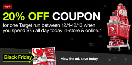20 Off Coupon With 75 Purchase at Target 1127 Only