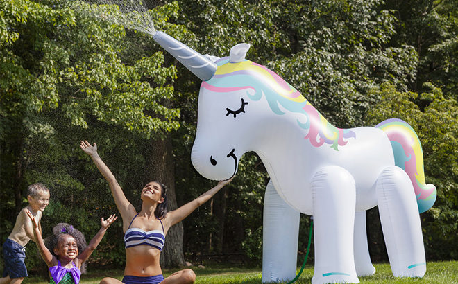 Large Inflatable Unicorn Yard Sprinkler for Just 2199 Regularly 60  Over 6 Foot Tall