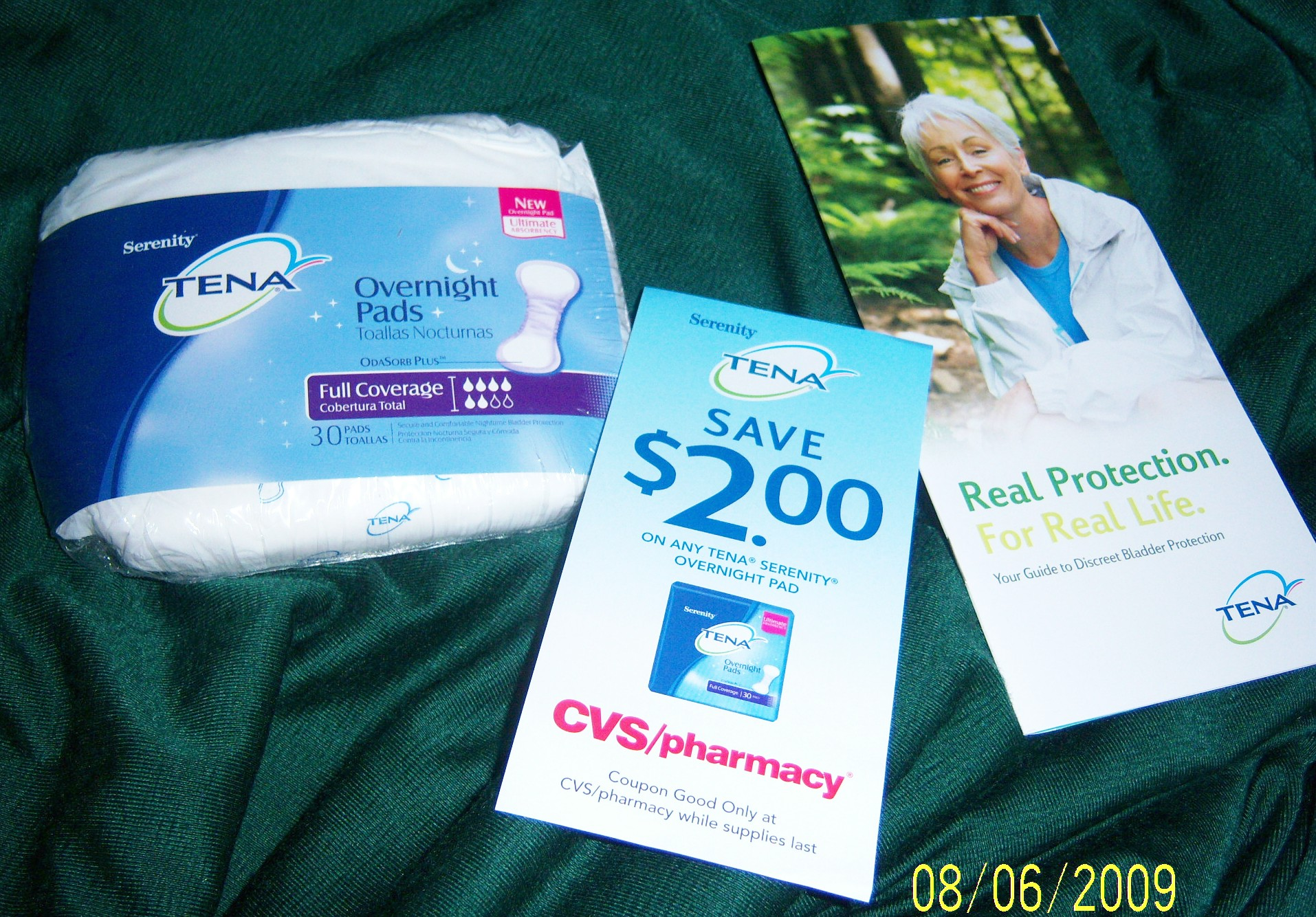 Tena overnight pad, $2 off coupon and booklet