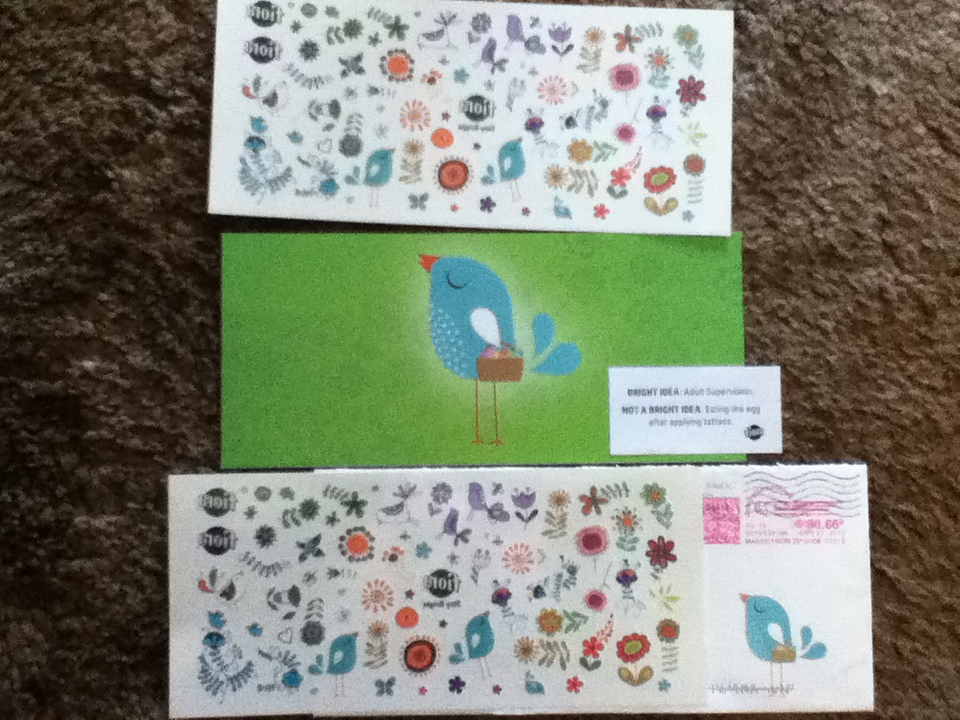 Gift from the fiora easter birdie temporary tattoos to for Easter tattoos walmart