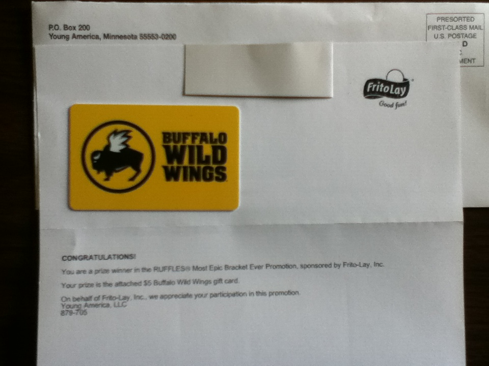 buffalo wild wings gift card promotion won a 5 buffalo wild wings gift card winner in the 5394