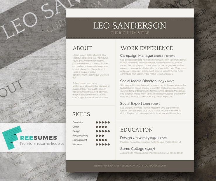 Conservative And Creative Free Word CV Template