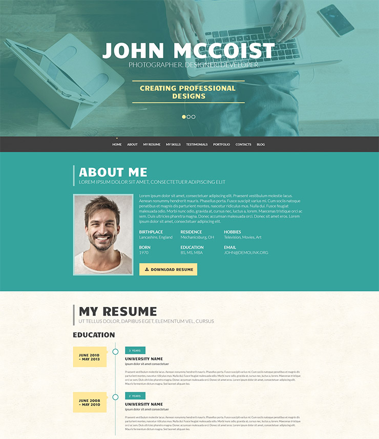 15 Best WordPress Resume CV Themes Freesumes