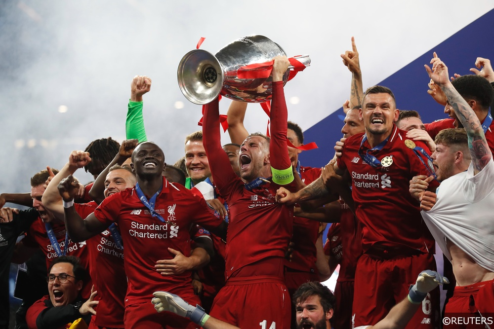 Jordan Henderson lifting the Champions League trophy