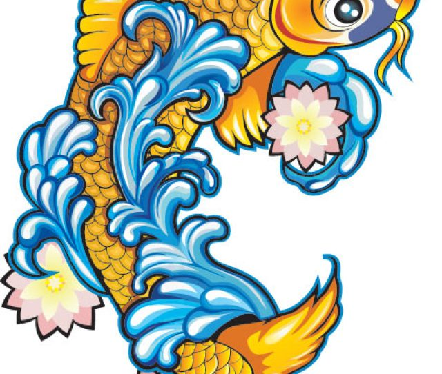 Koi Fish Tattoo Design With Flowers And Water