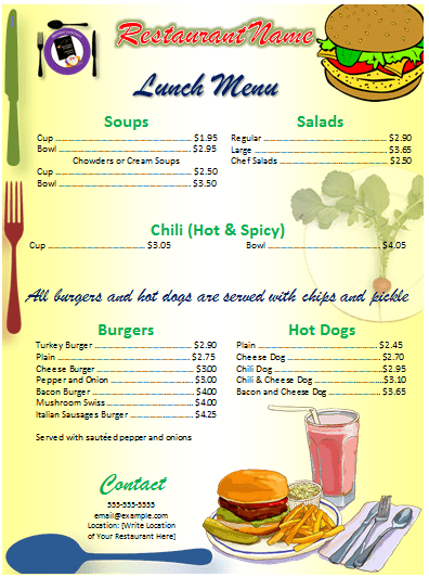 Lunch Menu Template Word