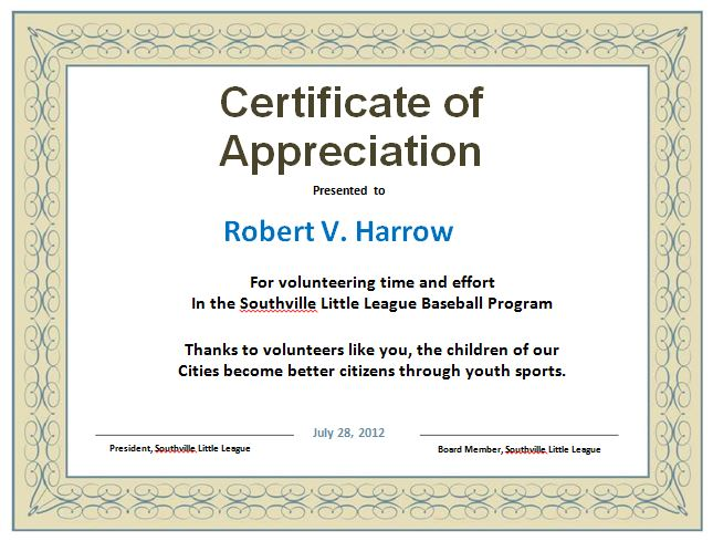 31 Free Certificate of Appreciation Templates and Letters  Free Template Downloads