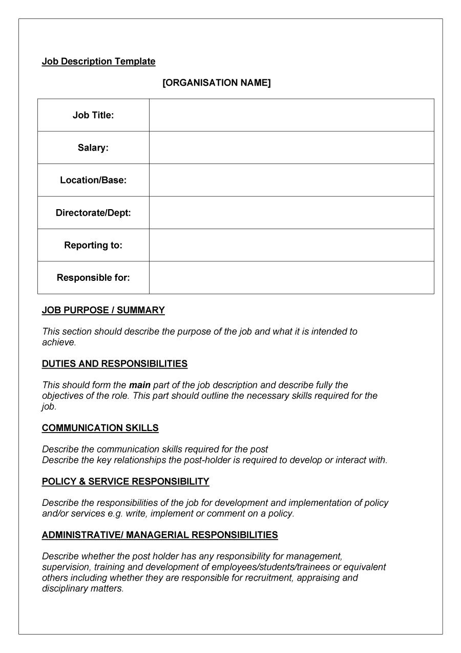 49 Free Job Description Templates & Examples Free