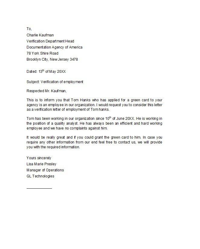 letter of job verification