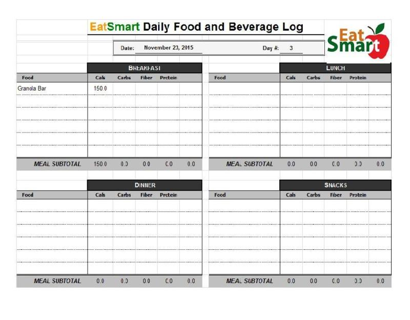 free food journal template