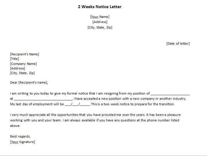 40 Two Weeks Notice Letters  Resignation Letter Samples