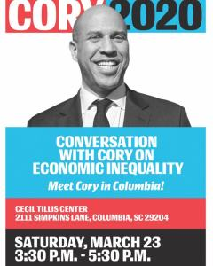 @corybooker will be here in #columbiasc for a conversation about #economic #ineq…
