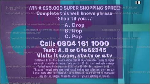 Loose Women competition, free entry question 25th March to 12th April 2013