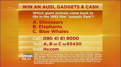 ITV Lorraine's Competition question to win an Audi Quattro & £7000 Ends 25/04/13