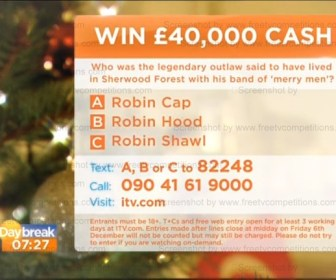 Daybreak New TV competition question to win £40000