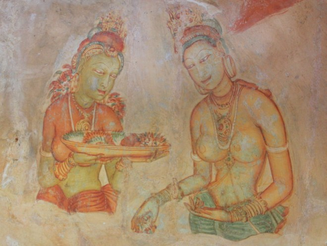 Photo of frescoes found half way up Sigiriya rock