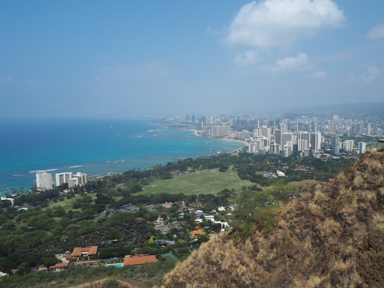 View over Waikiki from Diamond Head Crater lookout