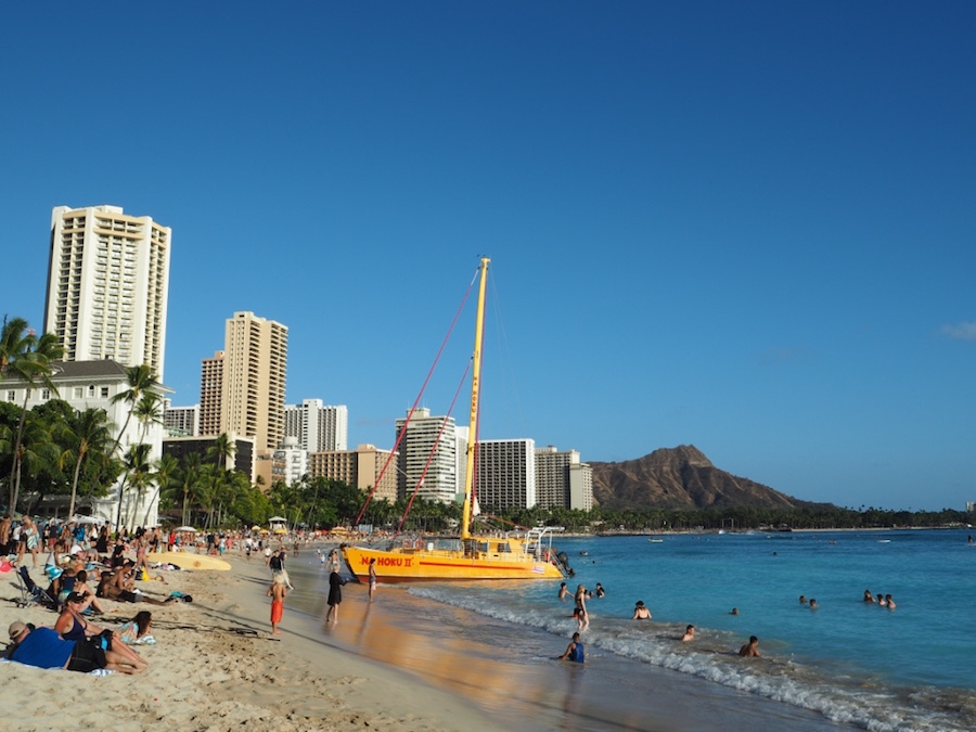 The famous Waikiki Beach in Honolulu.