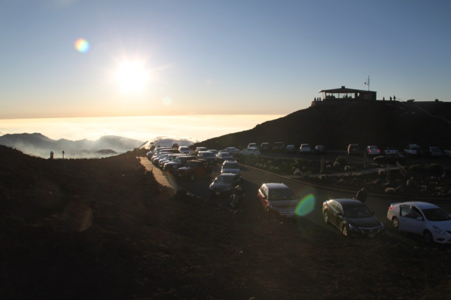 Car park of observation deck after sunrise - Haleakala National Park