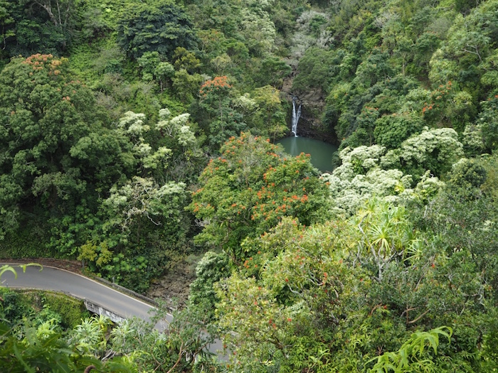 View over Pouhokamoa Falls and the Road to Hana from the Garden of Eden.
