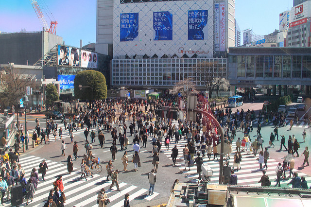 View over Shibuya's crossing from the Starbucks across the road