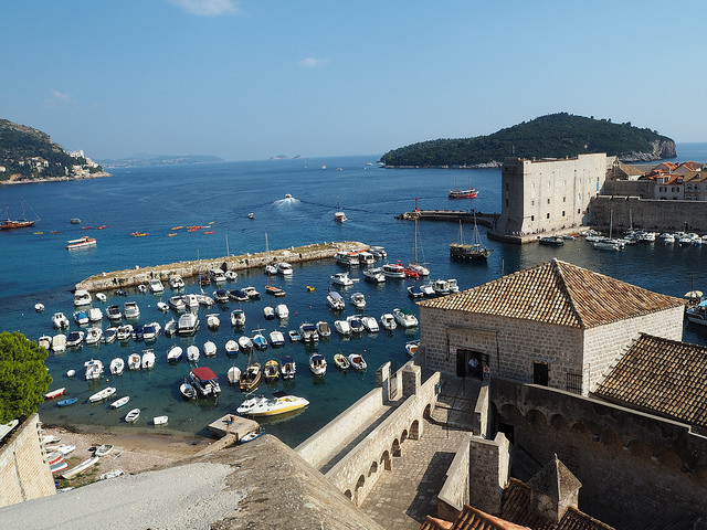 View over the old port from the Ploce Gate entrance of the walls