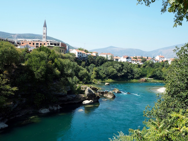 View over the beautiful turquoise Neretva river