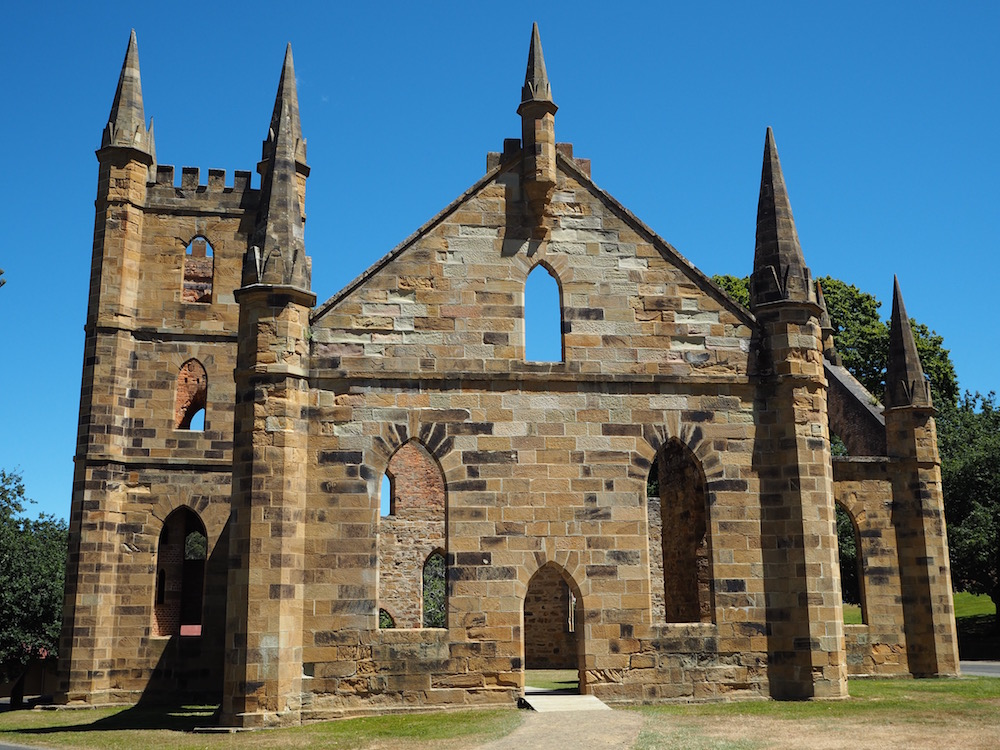 The ruins of the old convict church in Port Arthur.