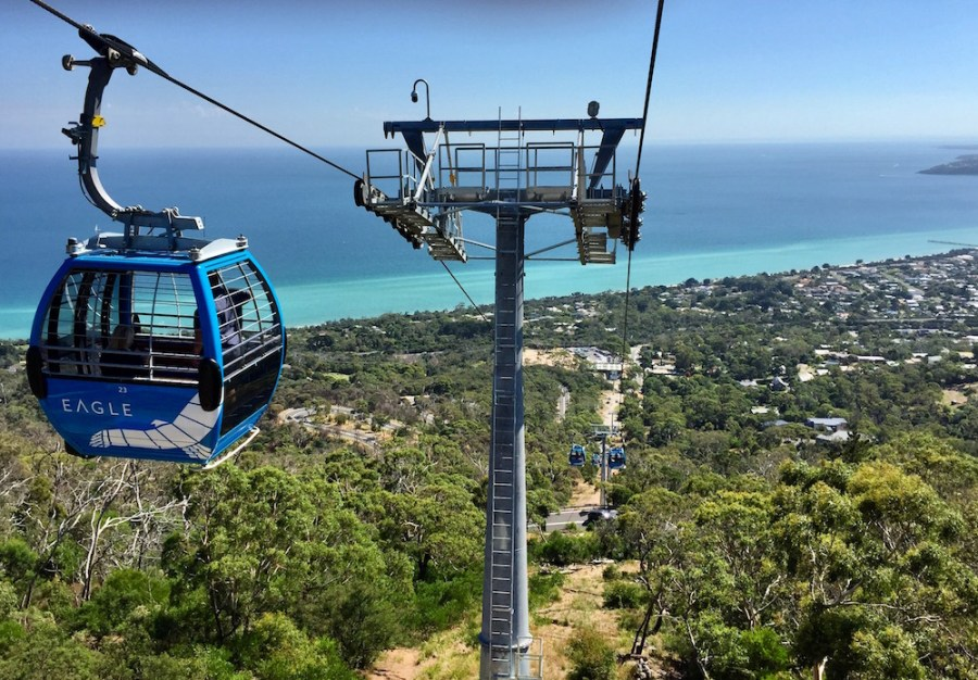 The new Eagle Skylift in Arthurs Seat. Great view over the peninsula.