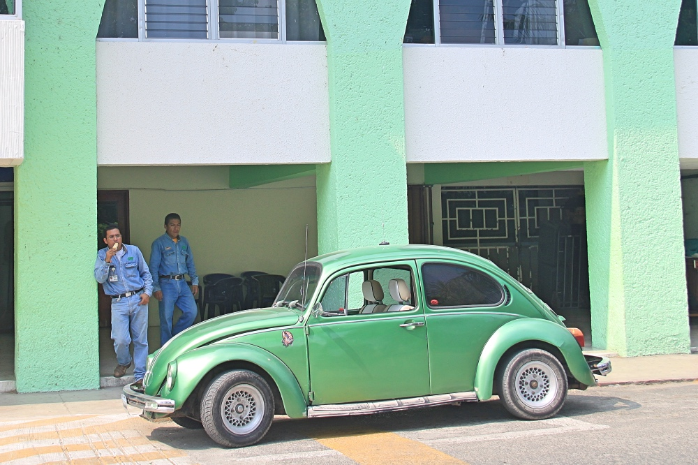 A green Beetle in Palenque.
