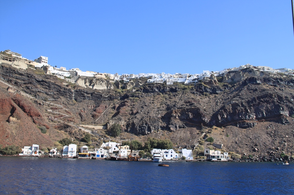 Incredible view of Oia from our cruise to the volcano.