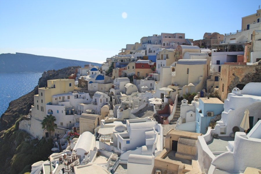Oia perched on the top of the cliff.