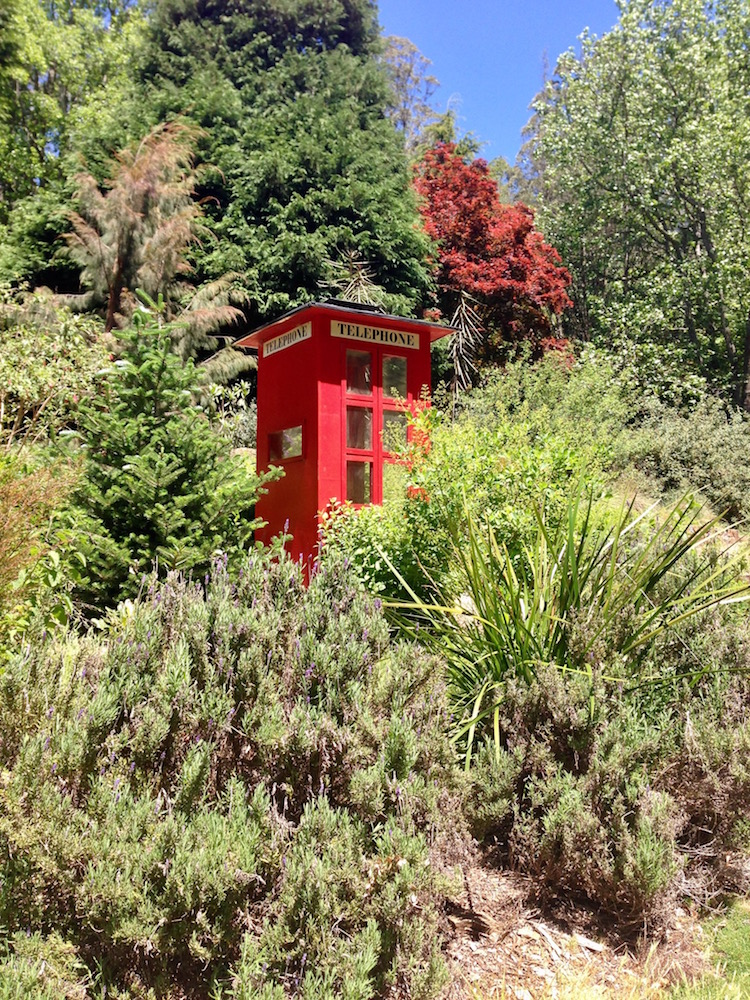 Old telephone box in Olinda's Rhododendron Gardens.