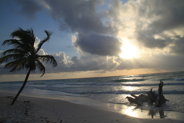 A beautiful sunrise on Tulum beach