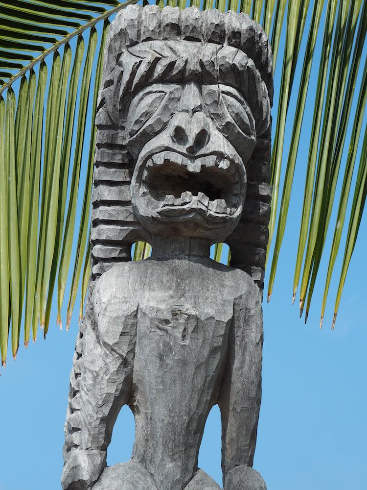 A tiki statue inside the historic park.