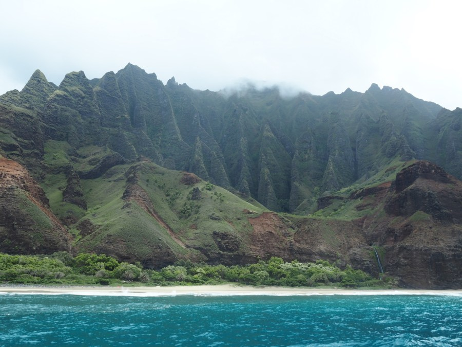 View of the Napali Coast from the sea.