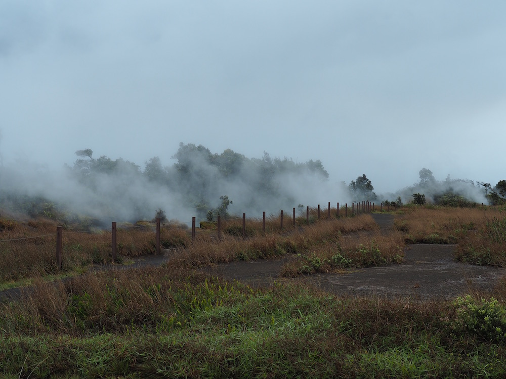 Many steam vents on a rainy day.
