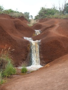 A waterfall in Waimea Canyon State Park.