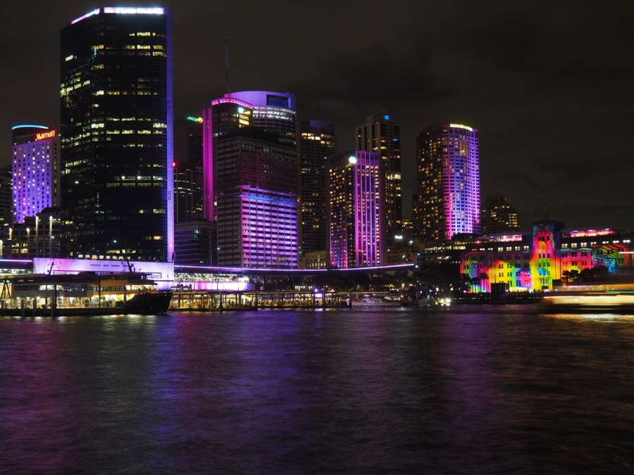 The city all lit up
