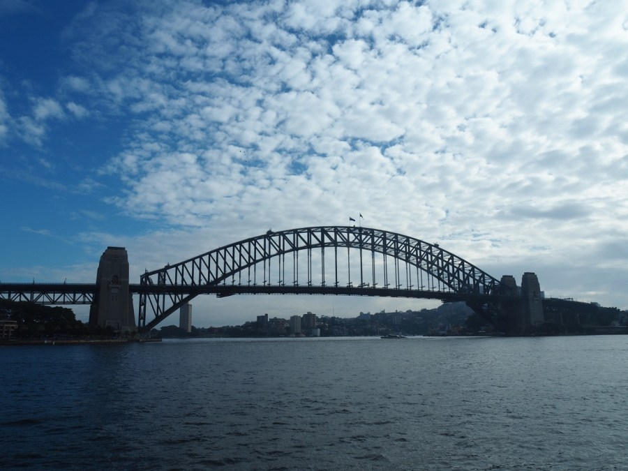 The iconic Harbour Bridge on a cloudy winter day.